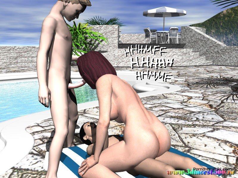с тетей и мамой на пляже порно рассказ
